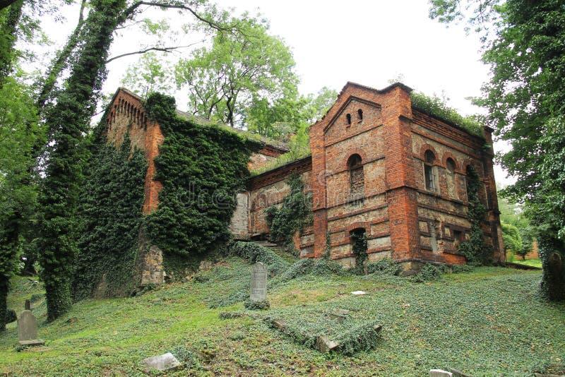 Zaniechany dom na starym żydowskim cmentarzu obraz royalty free