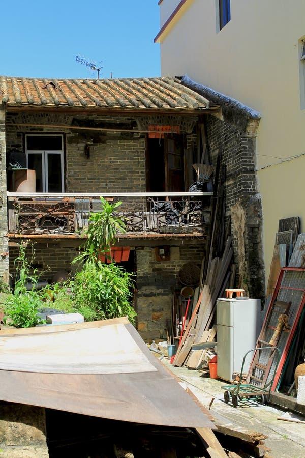 Zaniechany dom w chińskiej wiosce rybackiej Tai O, Hong Kong fotografia royalty free