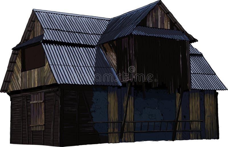 Zaniechany drewniany dom ilustracji