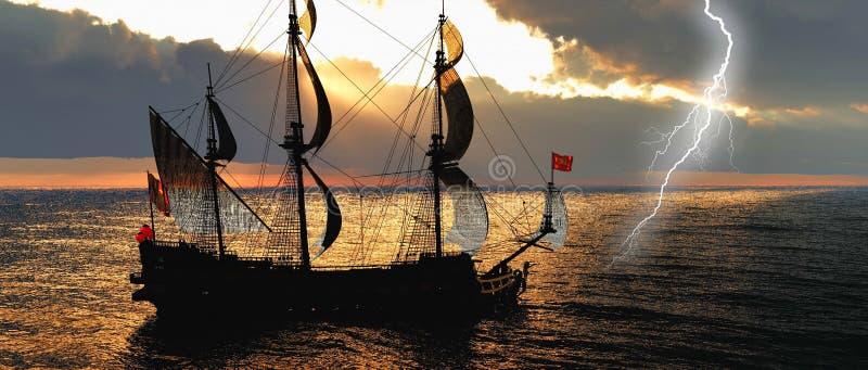 Zaniechany historyczny żeglowanie statek w burzowym morzu z uderzenia pioruna 3d renderingiem royalty ilustracja