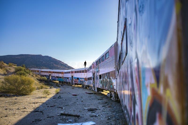 Zaniechany pociąg w pustyni San Diego okręg administracyjny obraz royalty free