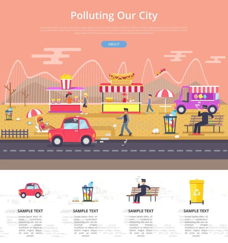 Zanieczyszczać Nasz miasto Plakatową Wektorową ilustrację royalty ilustracja