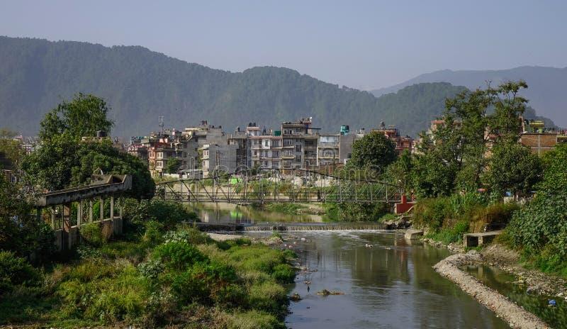 Zanieczyszczająca rzeka w Kathmandu, Nepal obraz royalty free