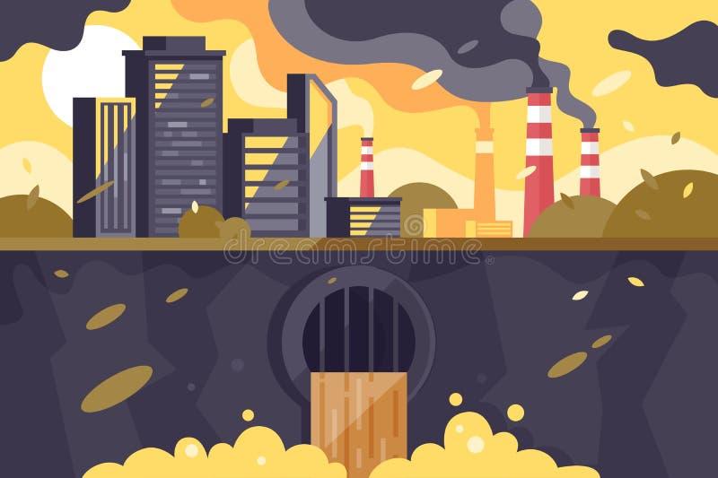 Zanieczyszczający miasto krajobraz ilustracja wektor