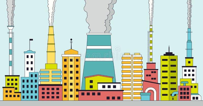 Zanieczyszczający Przemysłowy miasto ilustracji