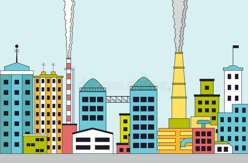 Zanieczyszczający przemysłowy miasto z fabrykami ilustracja wektor