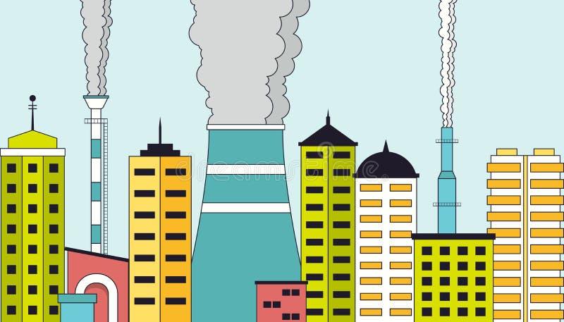 Zanieczyszczający przemysłowy pejzaż miejski ilustracji