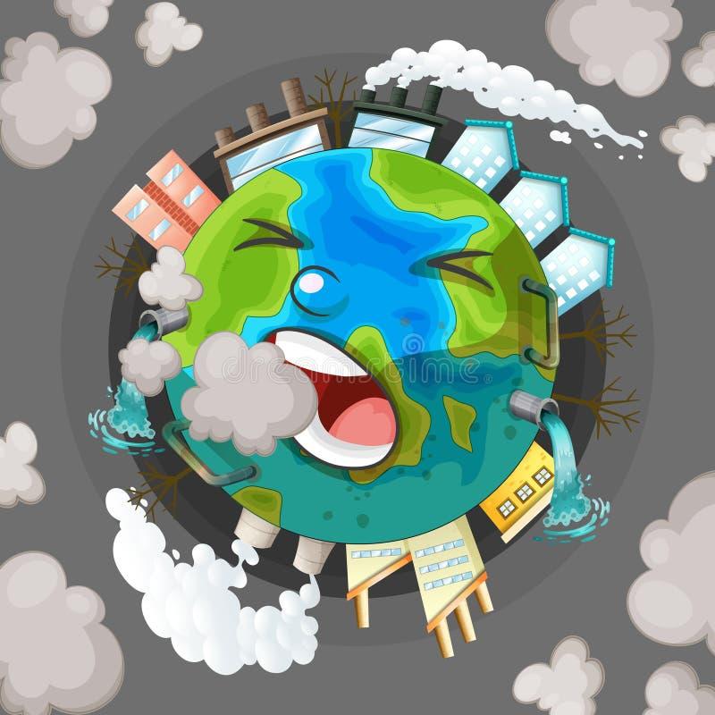 Zanieczyszczaj?ca ziemska ikona ilustracja wektor