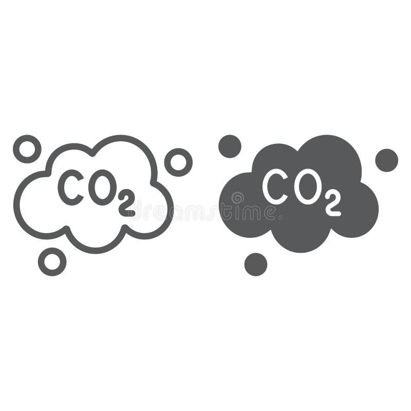 Zanieczyszczenia dwutlenek węgla linia, glif ikona, ekologia i dwutlenek, dwutlenek węgla emisji chmury znak, wektorowe grafika,  ilustracja wektor
