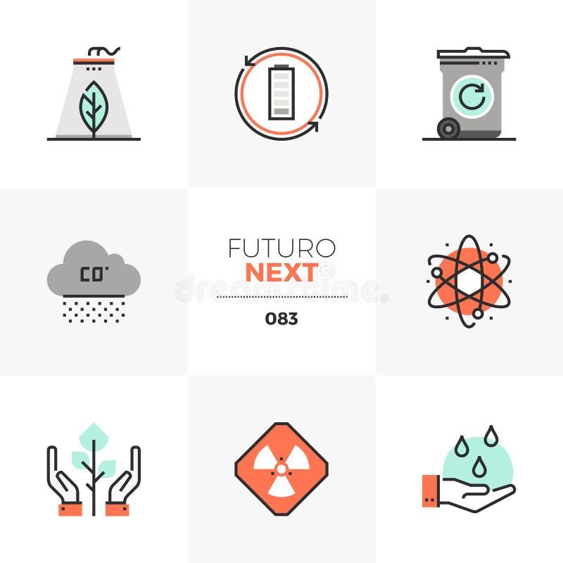Zanieczyszczenia Futuro Problemowe Następne ikony ilustracja wektor