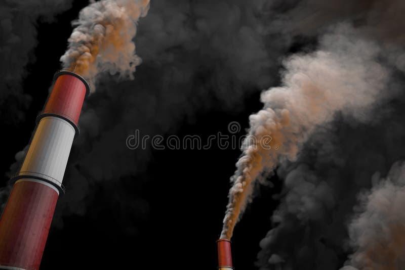 Zanieczyszczenia kreatywnie mockup, przemysłowa 3D ilustracja - ciemnego dymienia fabryczni kominy na czarnym tle ilustracja wektor