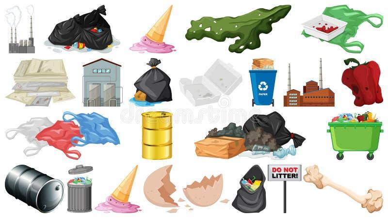 Zanieczyszczenie, ściółka, banialuka i grat, protestujemy odosobnionego royalty ilustracja