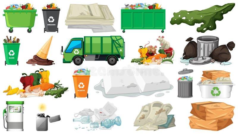 Zanieczyszczenie, ściółka, banialuka i grat, protestujemy odosobnionego ilustracja wektor