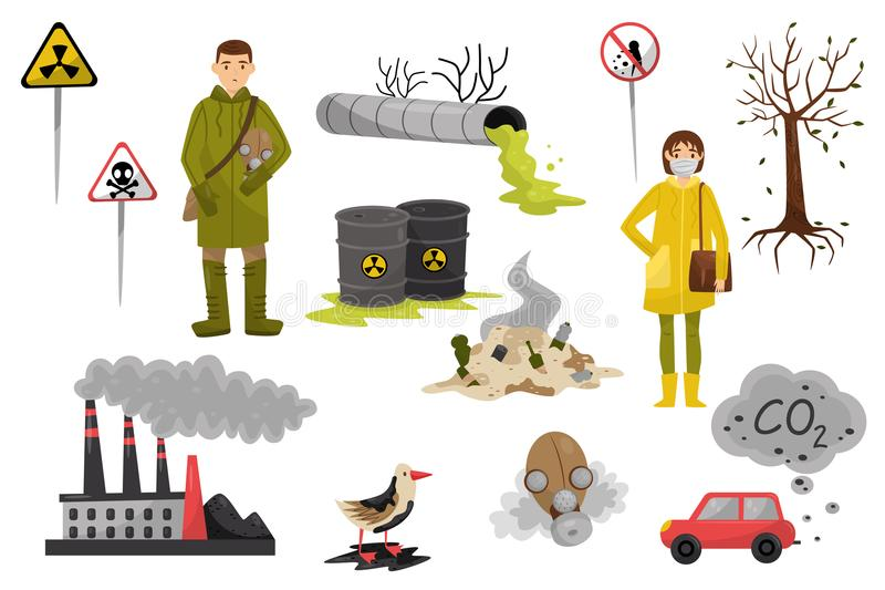 Zanieczyszczenie środowiska problemy ustawiający, zanieczyszczenie powietrze i woda, wylesienie, znak ostrzegawczy wektorowe ilus ilustracji