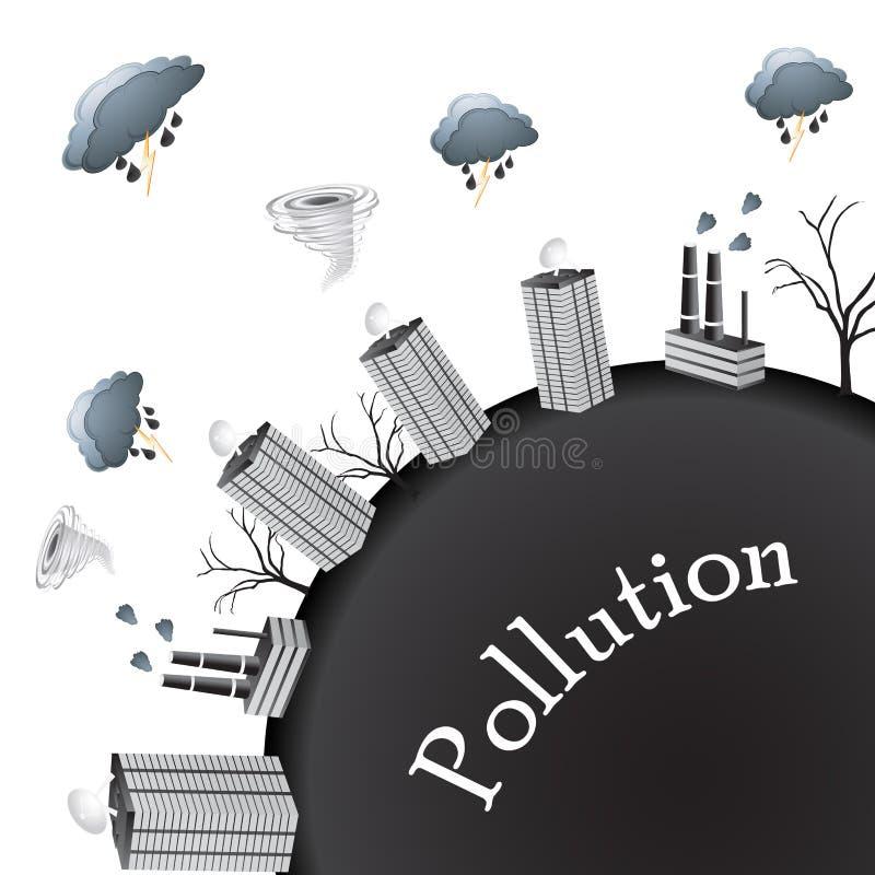 Zanieczyszczenie świat ilustracja wektor