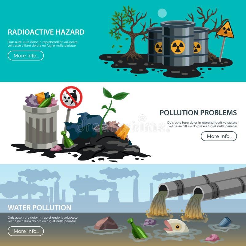 Zanieczyszczenie ekologii mieszkania sztandary ilustracja wektor