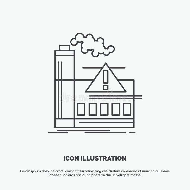 zanieczyszczenie, fabryka, powietrze, ostrzeżenie, przemysł ikona Kreskowy wektorowy szary symbol dla UI, UX, strona internetowa  ilustracji