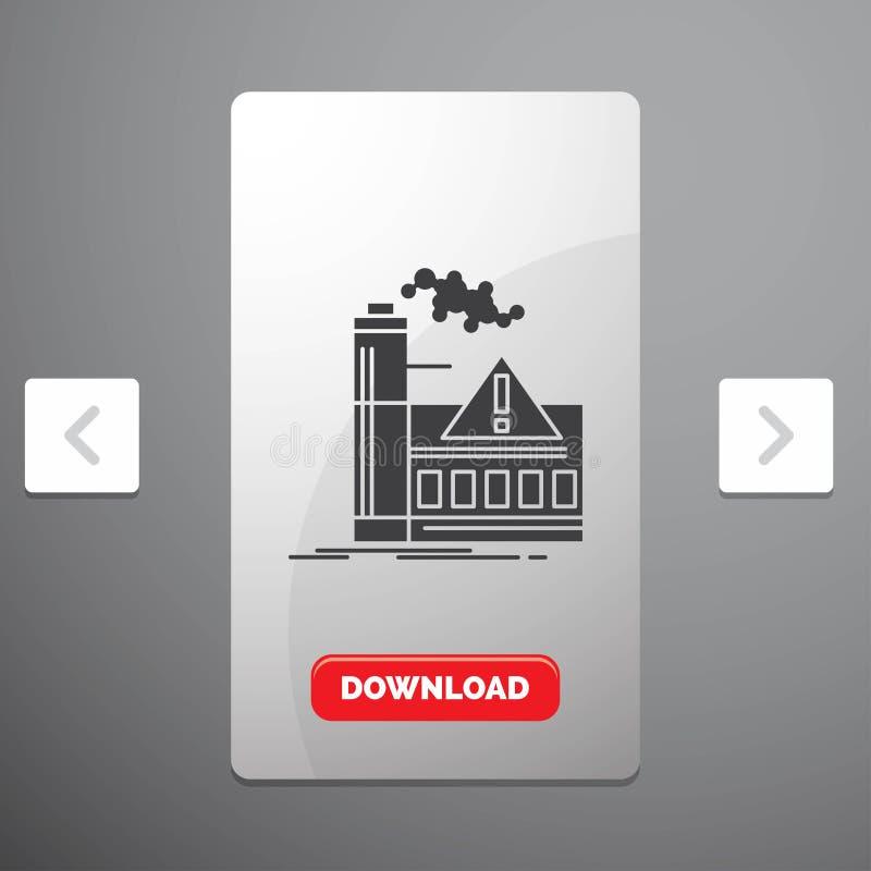 zanieczyszczenie, fabryka, powietrze, ostrzeżenie, przemysłu glifu ikona w biby paginacji suwaka projekcie & Czerwony ściąganie g royalty ilustracja