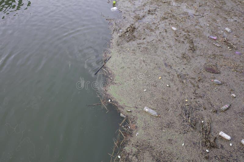Zanieczyszczenie i klingeryt marnotrawimy na Rzecznym Witham w Lincoln, Linc zdjęcie stock