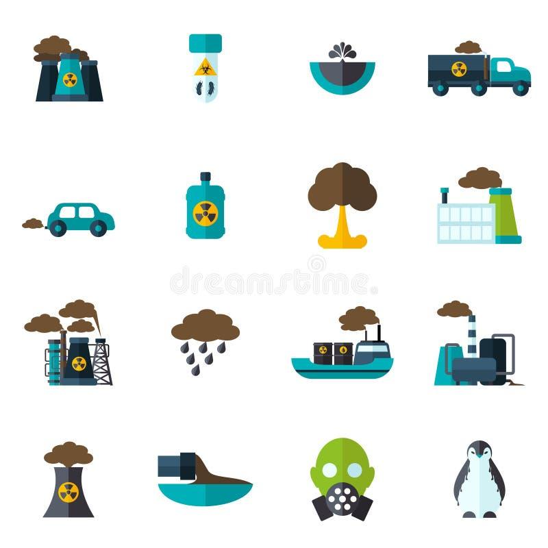 Zanieczyszczenie ikony mieszkanie ilustracja wektor