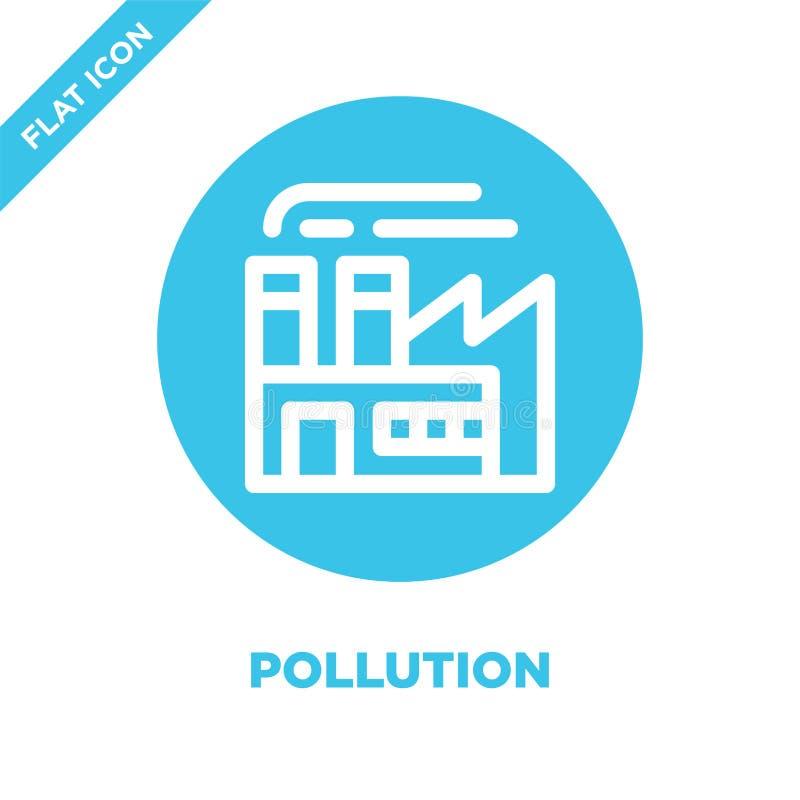 zanieczyszczenie ikony wektor Cienka kreskowa zanieczyszczenie konturu ikony wektoru ilustracja zanieczyszczenie symbol dla używa ilustracja wektor