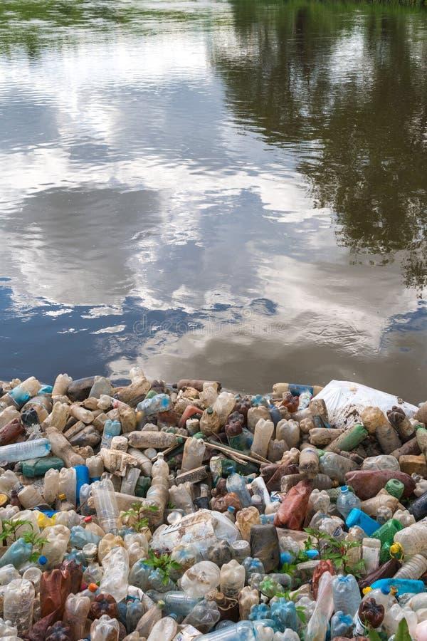 Zanieczyszczenie jezioro, świeża woda Plastikowy grat, brudzi odpady na plaży na letnim dniu piękna natura i peoplelessness obrazy stock