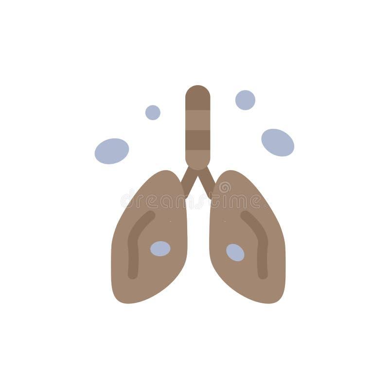 Zanieczyszczenie, nowotwór, serce, płuco, Organowa Płaska kolor ikona Wektorowy ikona sztandaru szablon royalty ilustracja