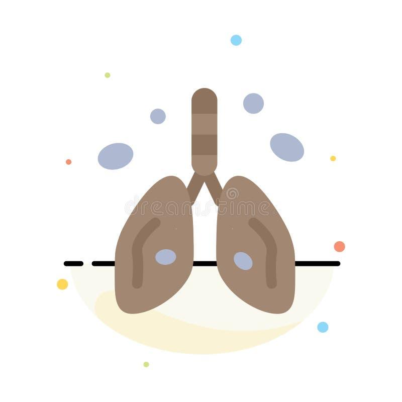 Zanieczyszczenie, nowotwór, serce, płuco, Organowy Abstrakcjonistyczny Płaski kolor ikony szablon royalty ilustracja
