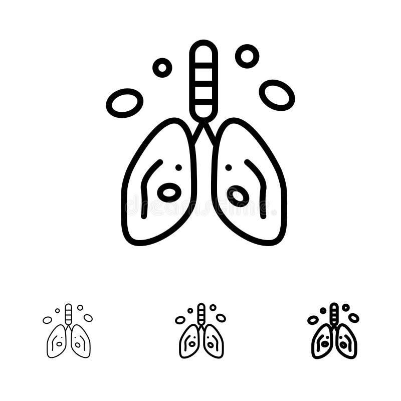 Zanieczyszczenie, nowotwór, serce, płuco, Organowy czerni linii ikony set, Śmiały i cienki ilustracja wektor