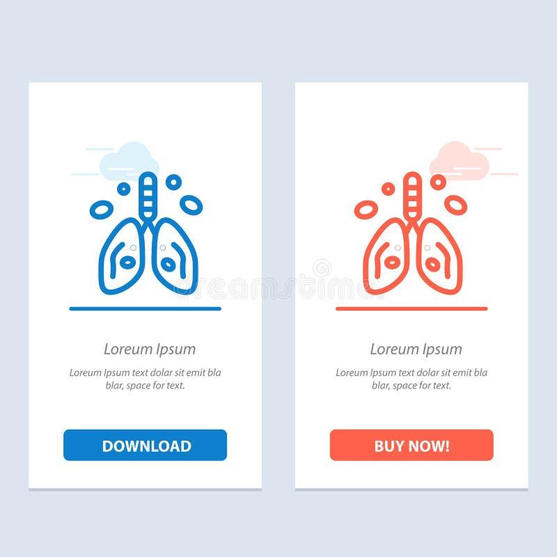 Zanieczyszczenie, nowotwór, serce, płuco, Organowy sieci Widget karty szablon, Błękitnej, Czerwonej i ściągania i zakupu Teraz ilustracja wektor