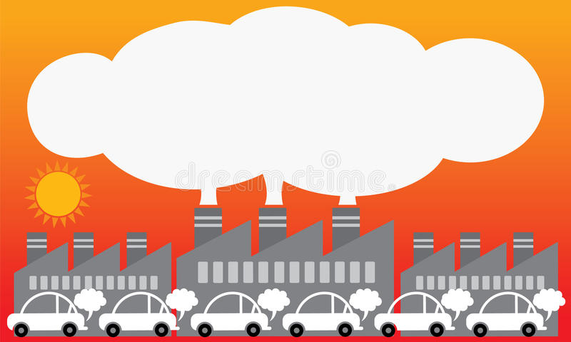 Zanieczyszczenie powietrza od miastowego Ilustracyjny wektorowy projekt royalty ilustracja