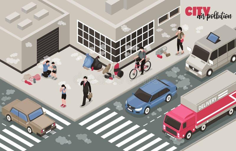 Zanieczyszczenie Powietrza tło royalty ilustracja