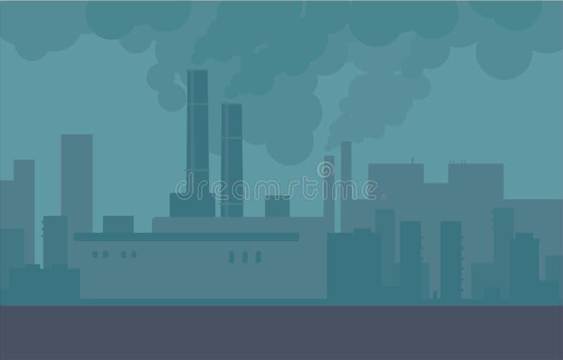 Zanieczyszczenie powietrza w miasto drymbach rośliny i fabryki ilustracji