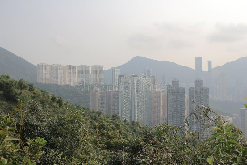 Zanieczyszczenie powietrza wiesza ove Hong Kong od Sir Cecil Jadącego zdjęcie royalty free
