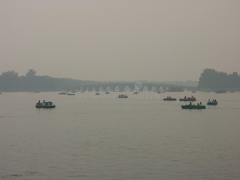 Zanieczyszczenie szczyt w Beihai ogródzie w Pekin zdjęcia royalty free