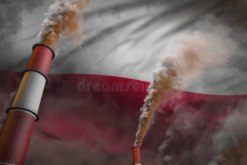Zanieczyszczenie walka w Polska pojęciu - przemysłowa 3D ilustracja dwa ogromnej fabryki drymby z ciężkim dymem na chorągwianym t ilustracja wektor