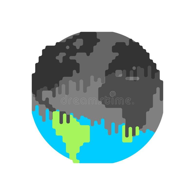 Zanieczyszczenie ziemia Roślina i dym czarny planeta Jadowity był ilustracji