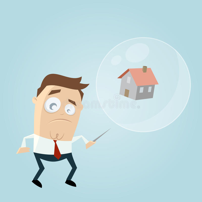 Zaniepokojony biznesmen z domem w soapbubble i igle ilustracji