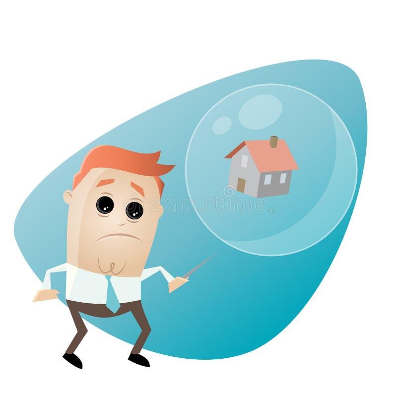 Zaniepokojony biznesmen z domem w soapbubble i igle ilustracja wektor