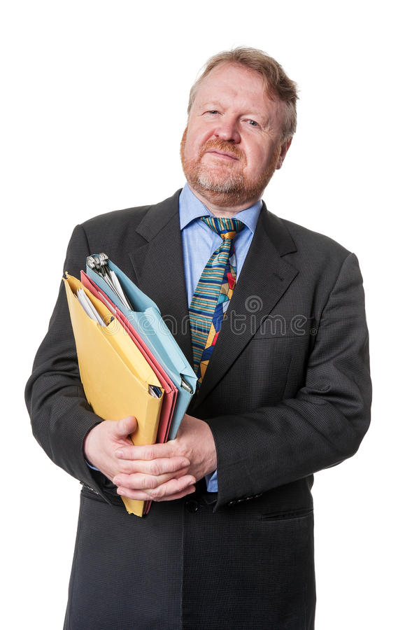 Zaniepokojony biznesmen z falcówkami - na bielu zdjęcia royalty free