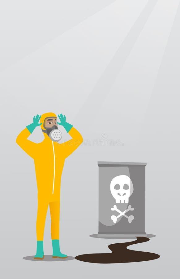 Zaniepokojony mężczyzna w napromienianie ochronnym kostiumu royalty ilustracja