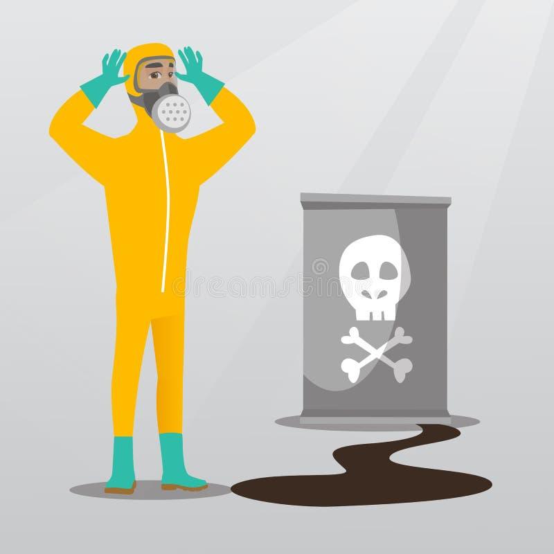 Zaniepokojony mężczyzna w napromienianie ochronnym kostiumu ilustracja wektor