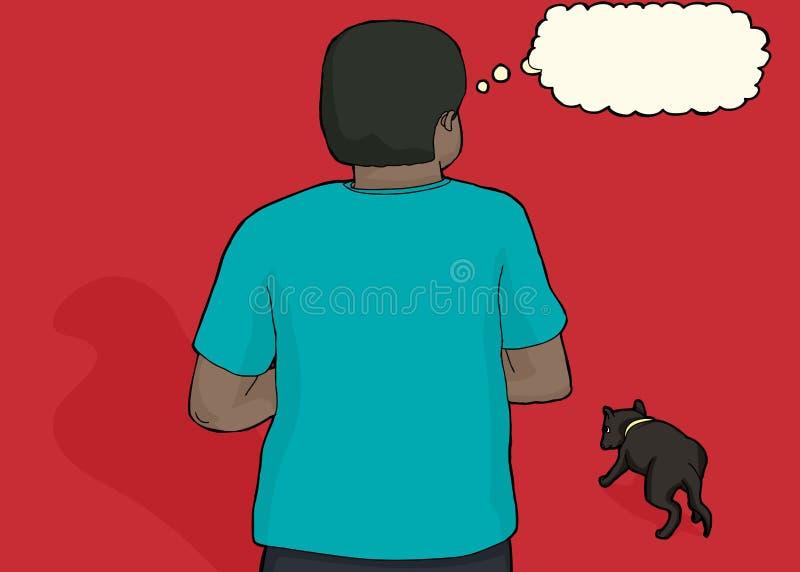 Zaniepokojony murzyn i Przybłąkany pies royalty ilustracja