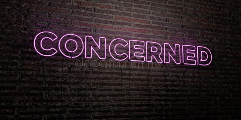 ZANIEPOKOJONY - Realistyczny Neonowy znak na ściana z cegieł tle - 3D odpłacający się królewskość bezpłatny akcyjny wizerunek ilustracja wektor