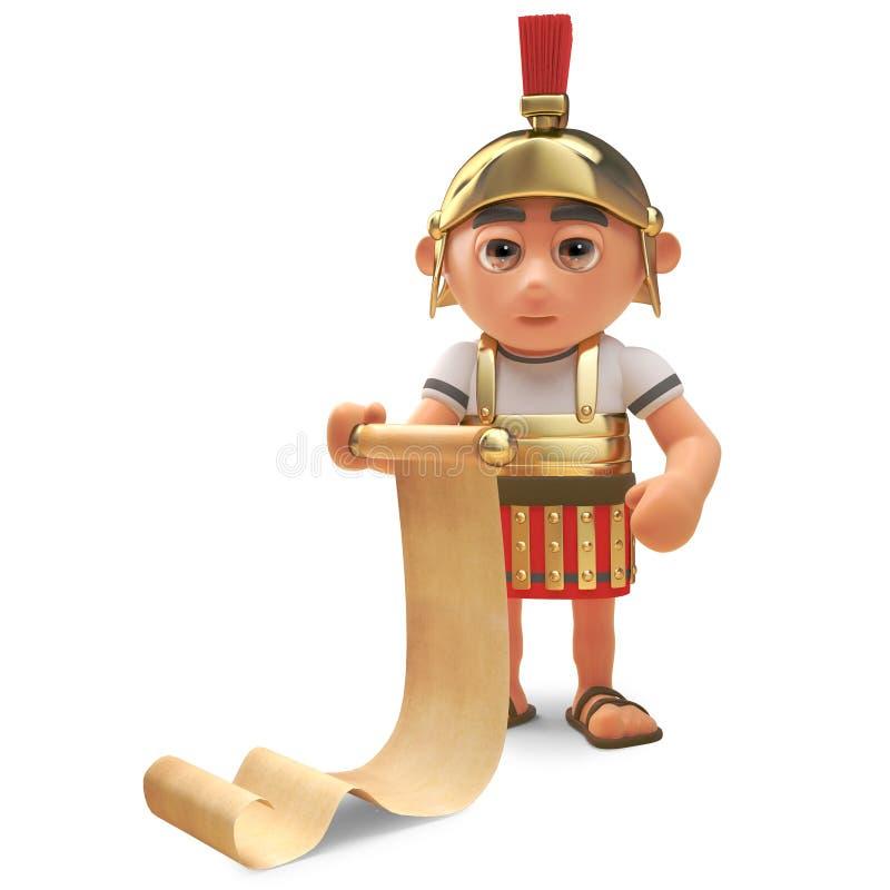 Zaniepokojony Romański centurionu żołnierz czyta od papirusowej ślimacznicy, 3d ilustracja ilustracja wektor