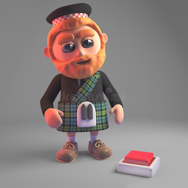 Zaniepokojony Szkocki mężczyzna w kilt spojrzeniach przy zmianą w podłodze, 3d ilustracja ilustracja wektor