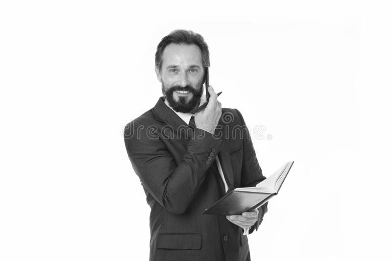 Zanim wezwanie pisze puszek informaci musi przenosić i cokolwiek potrzeba pyta klienta Biznesmen dzwoni klienta chwyta notepad zdjęcia stock