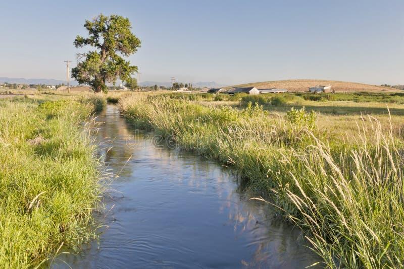 Zanja de irrigación en Colorado fotos de archivo