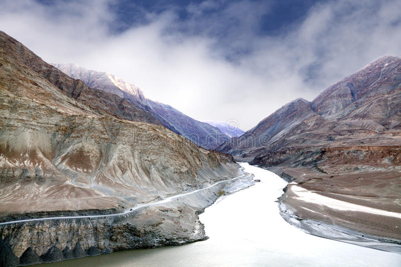 Zanskar and Indus river meeting point. Zanskar river valley and mountains at meeting point with Indus river, Ladakh stock images