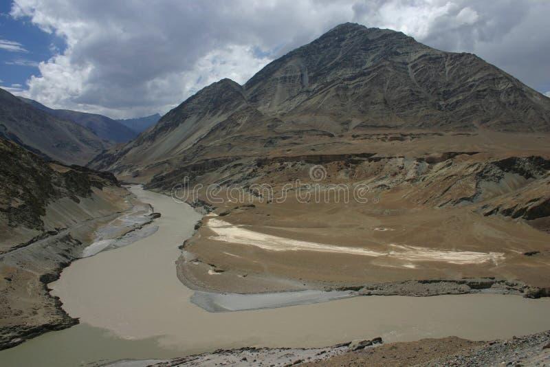 Zanskhar - Indus confluentes imagenes de archivo
